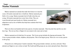 Print <i>Marine Mammals</i> reading comprehension.