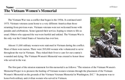 Print <i>The Vietnam Women's Memorial</i> reading comprehension.