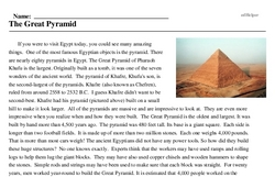 Print <i>The Great Pyramid</i> reading comprehension.