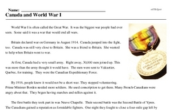 Print <i>Canada and World War I</i> reading comprehension.