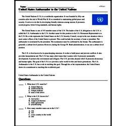 Print <i>United States Ambassador to the United Nations</i> reading comprehension.