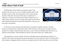 Print <i>White House Chief of Staff</i> reading comprehension.