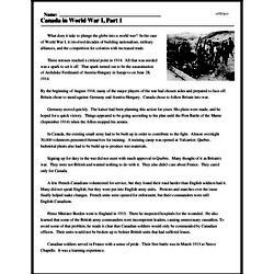 Print <i>Canada in World War I, Part 1</i> reading comprehension.