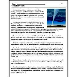 Print <i>Tornado Twisters</i> reading comprehension.
