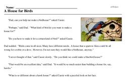 Print <i>A House for Birds</i> reading comprehension.