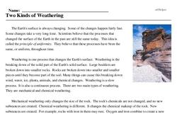 Print <i>Two Kinds of Weathering</i> reading comprehension.