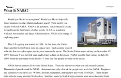 Print <i>What Is NASA?</i> reading comprehension.