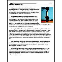 Print <i>Choking Out Smoking</i> reading comprehension.
