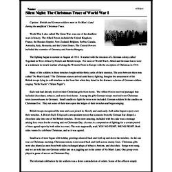 Print <i>Silent Night: The Christmas Truce of World War I</i> reading comprehension.