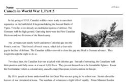 Print <i>Canada in World War I, Part 2</i> reading comprehension.