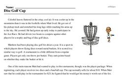 Print <i>Disc Golf Cap</i> reading comprehension.