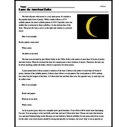 Print <i>Lune: the American Haiku</i> reading comprehension.