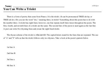 Print <i>You Can Write a Triolet</i> reading comprehension.