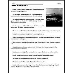Print <i>Canada in World War II</i> reading comprehension.