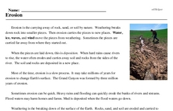 Print <i>Erosion</i> reading comprehension.