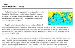 Print <i>Plate Tectonics Theory</i> reading comprehension.