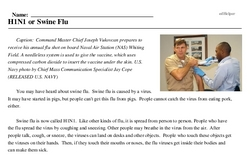 Print <i>H1N1 or Swine Flu</i> reading comprehension.
