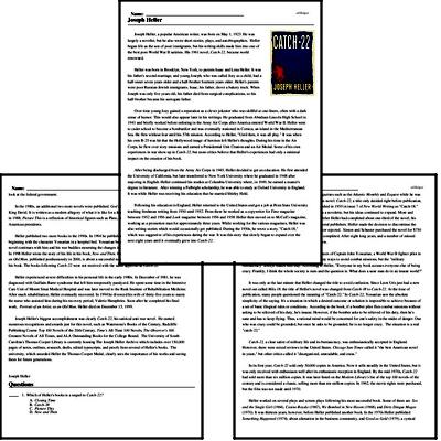 Print <i>Joseph Heller</i> reading comprehension.