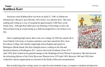 Print <i>Kathleen Karr</i> reading comprehension.