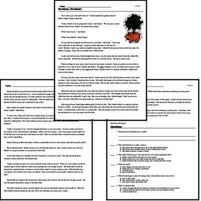 Print <i>Decisions, Decisions!</i> reading comprehension.