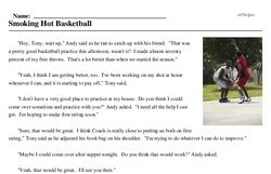 Print <i>Smoking Hot Basketball</i> reading comprehension.