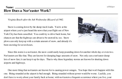 Print <i>How Does a Nor'easter Work?</i> reading comprehension.