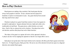 Print <i>How to Play Checkers</i> reading comprehension.
