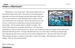 Print <i>What's a Hurricane?</i> reading comprehension.
