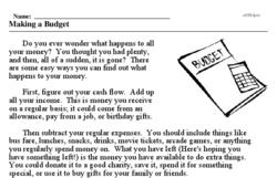 Print <i>Making a Budget</i> reading comprehension.