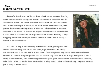 Print <i>Robert Newton Peck</i> reading comprehension.