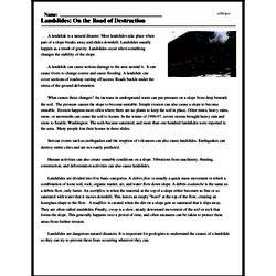 Print <i>Landslides: On the Road of Destruction</i> reading comprehension.