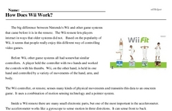Print <i>How Does Wii Work?</i> reading comprehension.