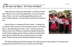 Print <i>¡Es El Cinco de Mayo! - It's Cinco de Mayo!</i> reading comprehension.