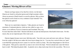 Print <i>Glaciers: Moving Rivers of Ice</i> reading comprehension.