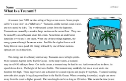Print <i>What Is a Tsunami?</i> reading comprehension.