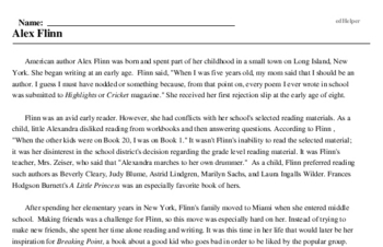 Print <i>Alex Flinn</i> reading comprehension.