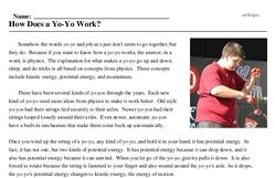 Print <i>How Does a Yo-Yo Work?</i> reading comprehension.