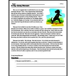 Print <i>Living Among Dinosaurs</i> reading comprehension.