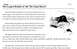 Print <i>The Largest Rodent of All: The Giant Beaver</i> reading comprehension.
