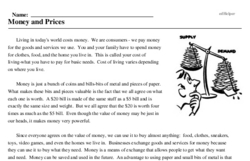 Print <i>Money and Prices</i> reading comprehension.