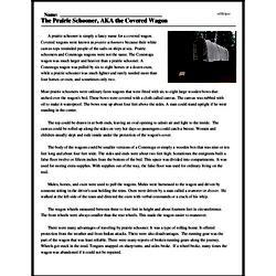 Print <i>The Prairie Schooner, AKA the Covered Wagon</i> reading comprehension.