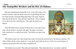 Print <i>The Montgolfier Brothers and the Hot Air Balloon</i> reading comprehension.