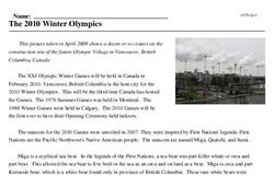Print <i>The 2010 Winter Olympics</i> reading comprehension.
