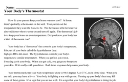 Print <i>Your Body's Thermostat</i> reading comprehension.