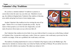 Print <i>Valentine's Day Traditions</i> reading comprehension.