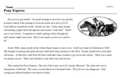 Print <i>Pony Express</i> reading comprehension.