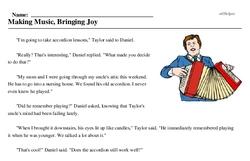 Print <i>Making Music, Bringing Joy</i> reading comprehension.