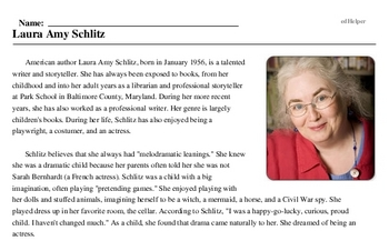 Print <i>Laura Amy Schlitz</i> reading comprehension.