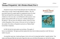 Print <i>Thomas Fitzpatrick, AKA Broken Hand, Part 2</i> reading comprehension.