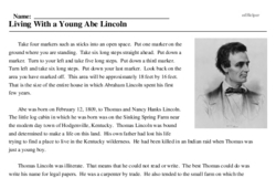 Print <i>Living With a Young Abe Lincoln</i> reading comprehension.
